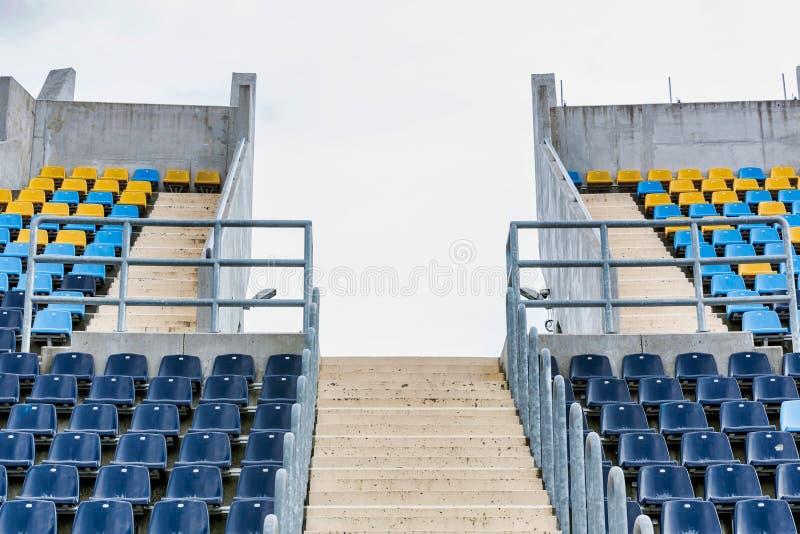 Photo of stadium seats. Full length Photo of stadium seats stock images