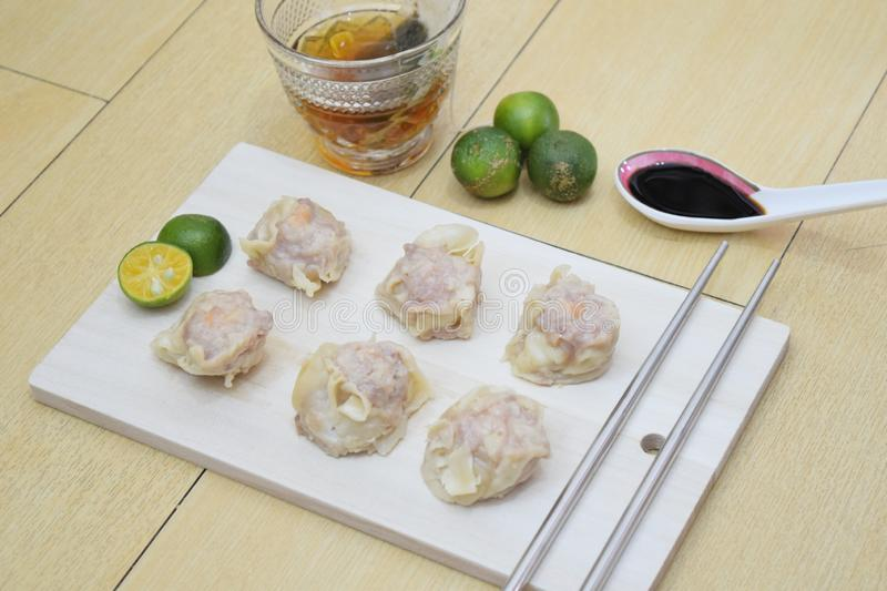 Steamed siomai. A photo of steamed Chinese dumplings stock image