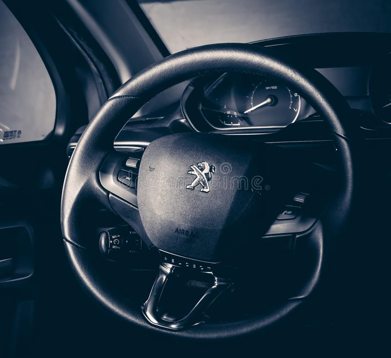 Photo of a steering wheel / Editorial / Peugeot 208 stock photography
