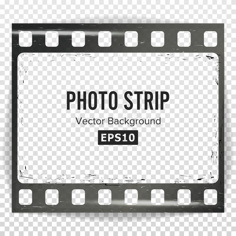 Photo Strip Vector. Realistic Empty Frame Strip Blank. Grunge Scratched Template Isolated On Transparent Background. vector illustration