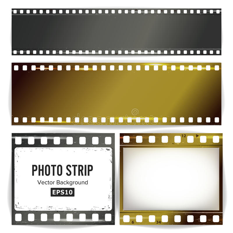 Photo Strip Vector. Realistic Empty Frame Strip Blank. Grunge Scratched Template Isolated On White Background. royalty free illustration