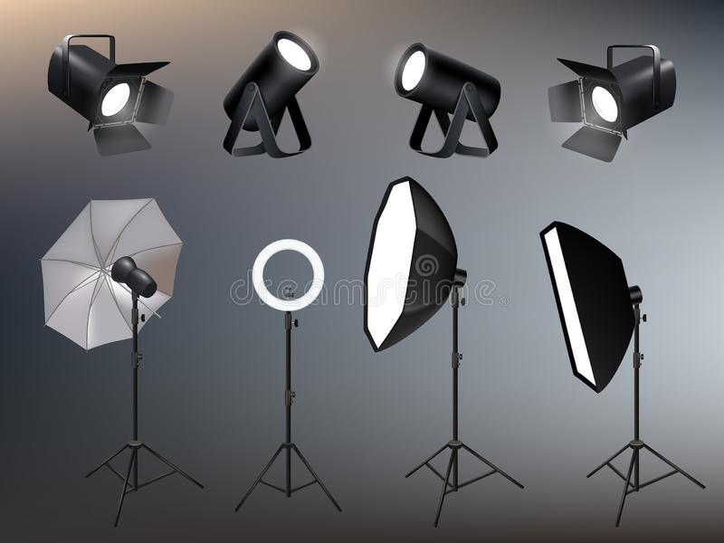 Photo studio accessories. Spotlights softboxes and glow and vivid backstage light vector realistic. Illustration of softbox and projector, spotlighting and royalty free illustration