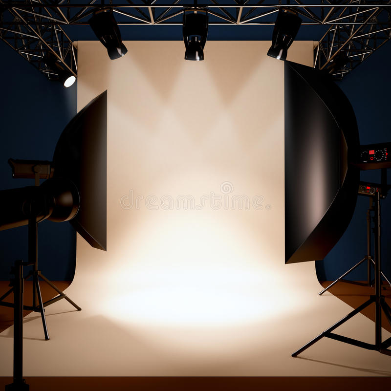 A photo studio background template. stock illustration