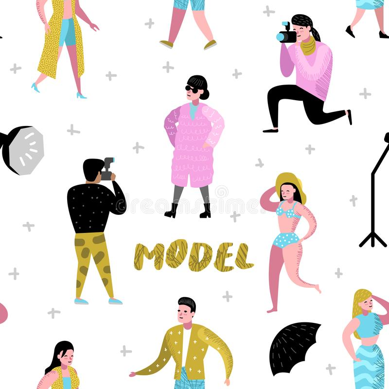 Photo Studio Characters Seamless Pattern with Photographer and Models. Photographic Equipment royalty free illustration