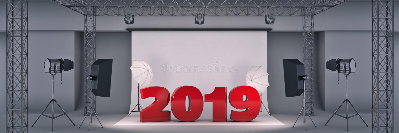 Photo studio 2019. 3d rendering stock illustration