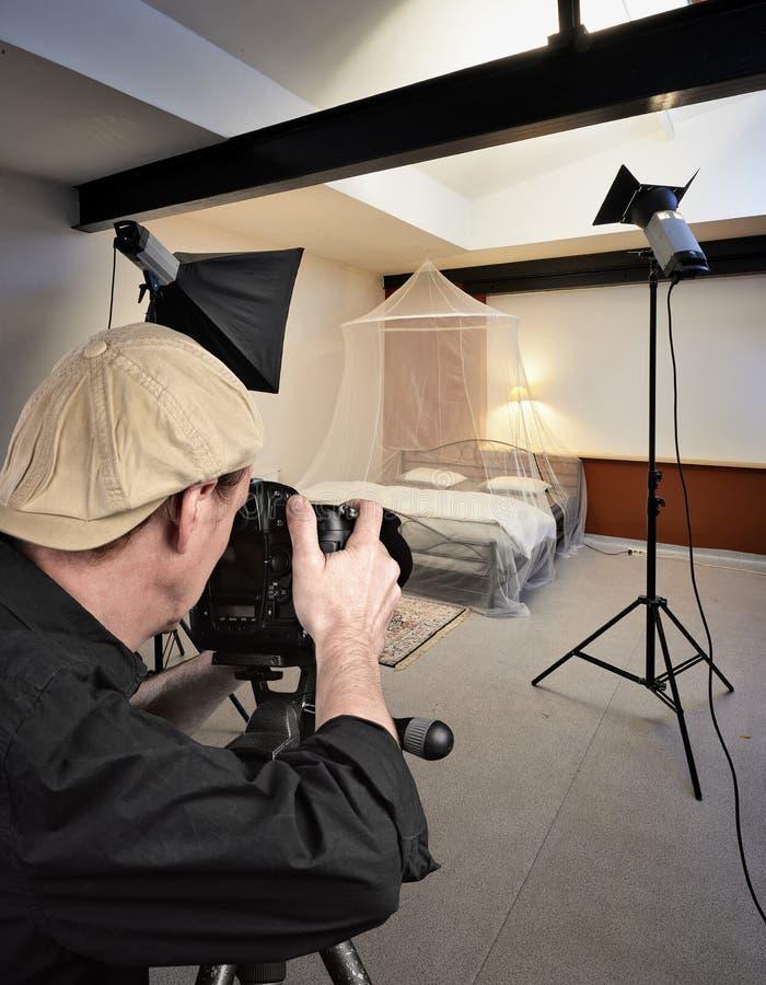 Photo studio with lighting equipment stock photos