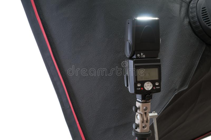 Photo studio lighting equipment, softbox and  flash royalty free stock photo