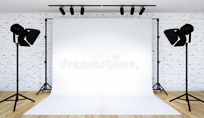 Photo studio lighting set up with white backdrop, 3D Rendering royalty free stock image