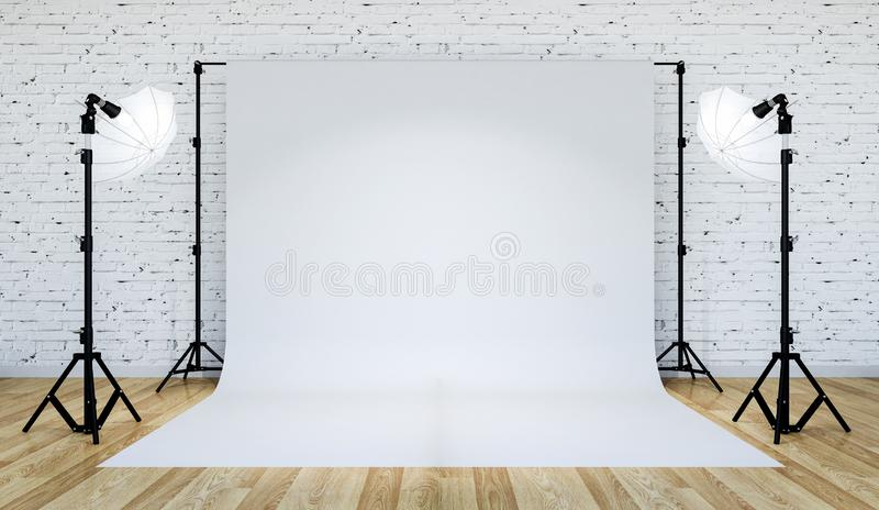Photo studio lighting set up with white backdrop, 3D Rendering stock image