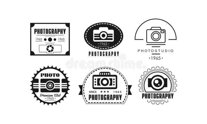 Photo studio logo set, photography black badge template in retro style vector Illustration on a white background stock illustration