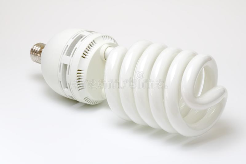 Photo studio spiral light bulb stock photos