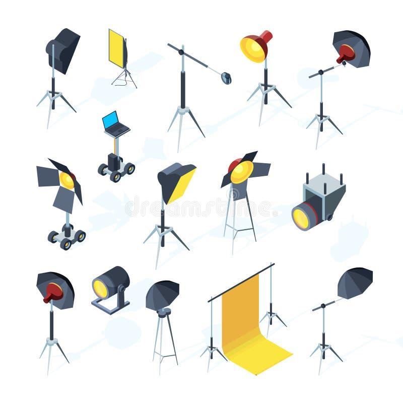 Photo studio tools. Video or tv production equipment flashing and directional light umbrella softbox photo studio vector. Tools. Studio equipment professional royalty free illustration