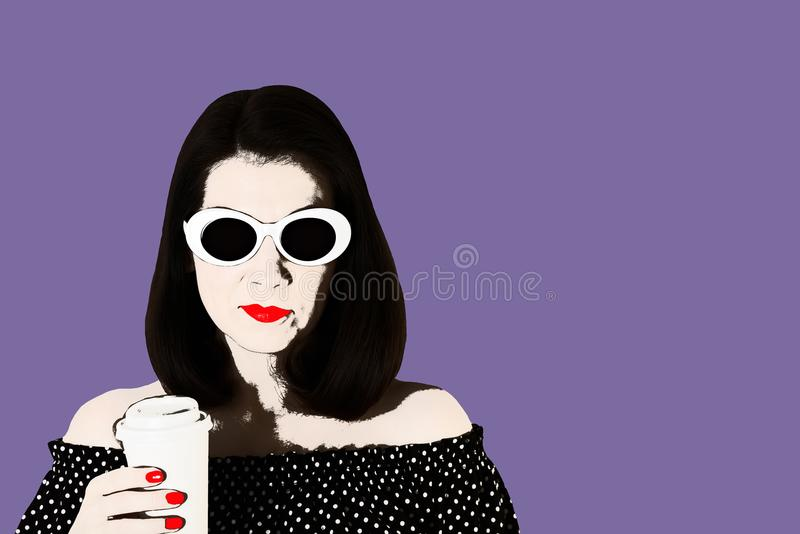 Photo in the style of pop art. Woman in a black and white dress. With polka dots and white sunglasses holding a glass of coffee. Comic retro girl in pin up stock illustration