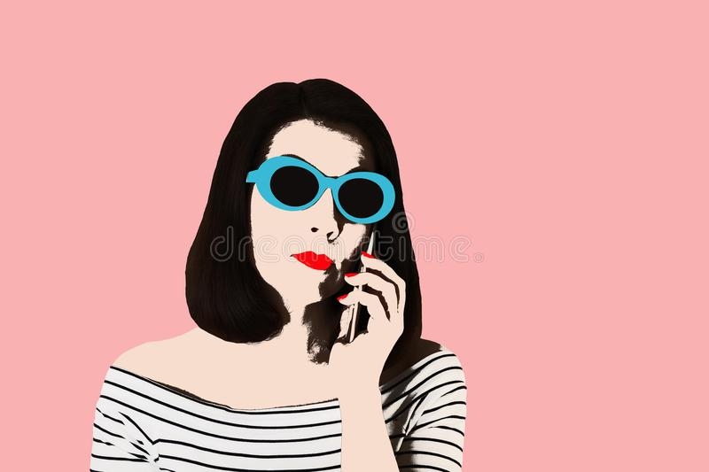 Photo in the style of pop art. Woman in a black and white stripe. D top and sunglasses talking on a smartphone, pin up style. Young comic woman in retro style vector illustration