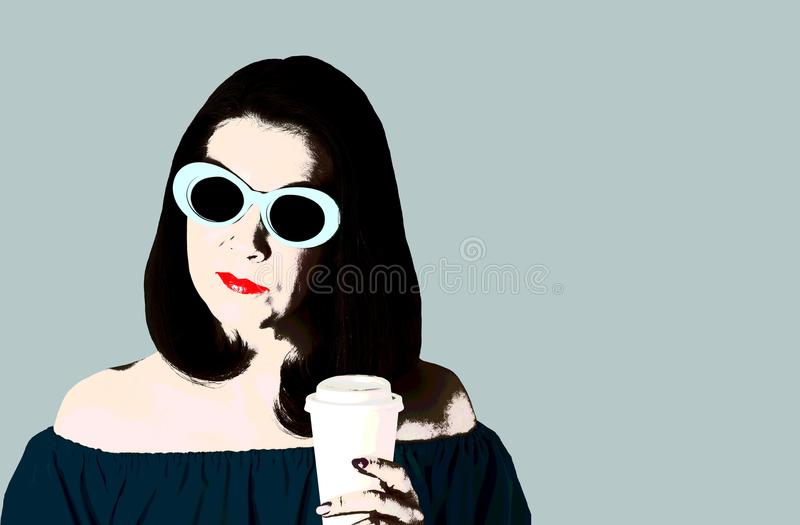 Photo in the style of pop art. Woman in blue dress and sunglasses idrinks coffee. Comic retro girl in pin up style royalty free illustration