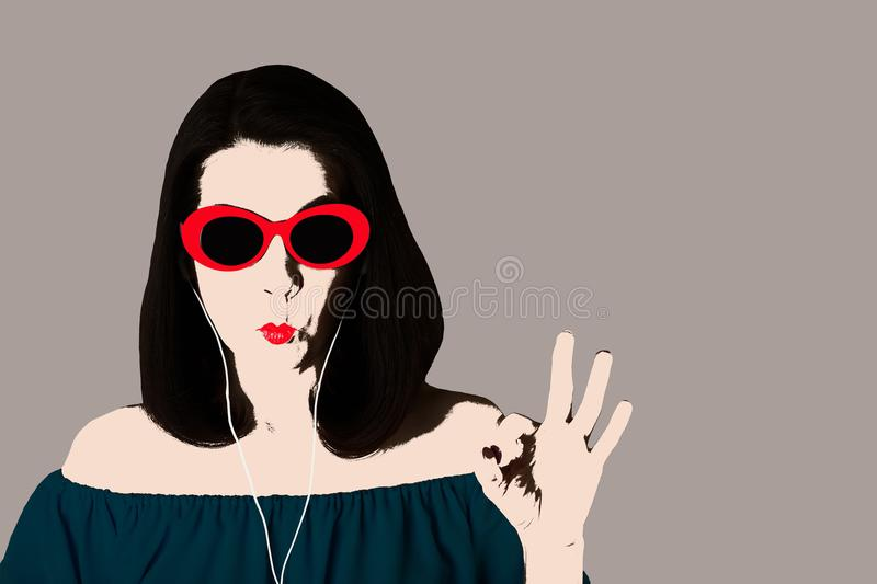 Photo in the style of pop art. Woman in blue dress and sunglasses in headphones shows gesture ok. Comic retro girl in pin up style royalty free illustration