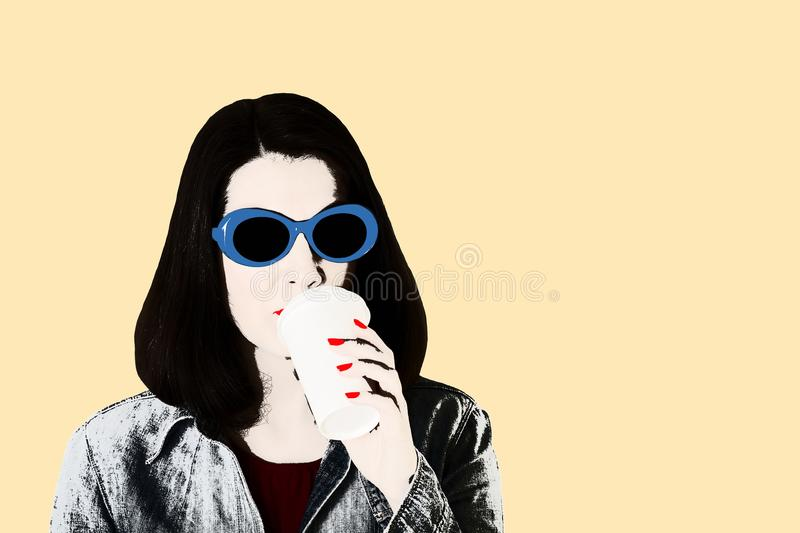 Photo in the style of pop art. Woman in denim shirt and blue sun. Glasses with red lipstick and nail polish drinks coffee. Isolated background stock illustration