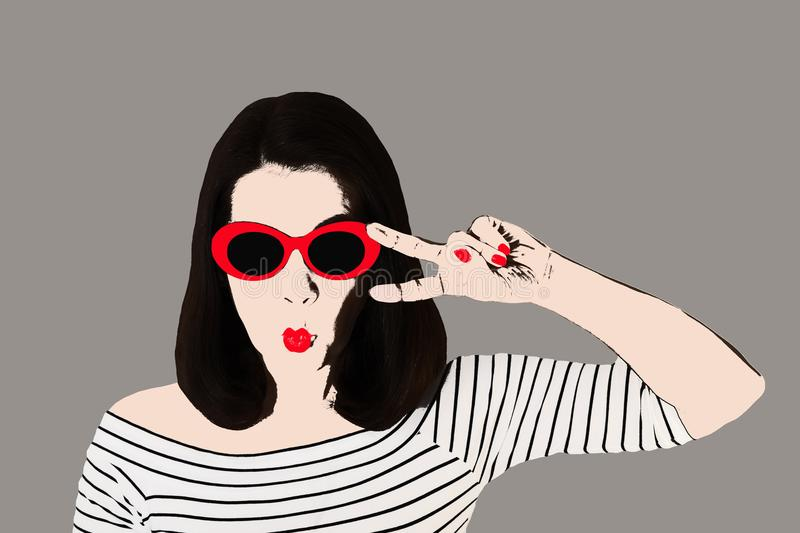 Photo in the style of pop art. Woman in dress and sunglasses in. Pin up style. Young comic woman in retro style stock illustration