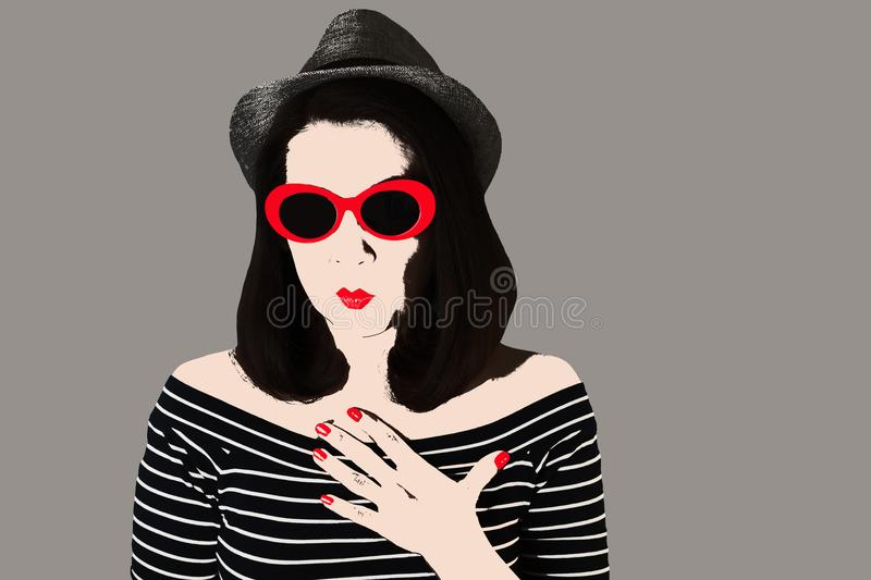 Photo in the style of pop art. Woman in dress and sunglasses in. Pin up style. Young comic woman in retro style royalty free illustration