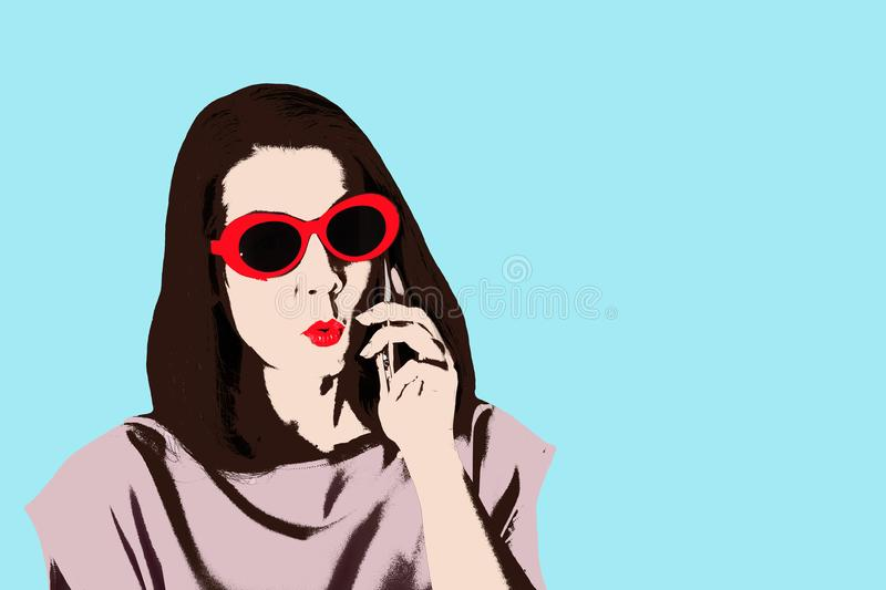 Photo in the style of pop art. Woman in dress and sunglasses in. Pin up style. Young comic woman in retro style vector illustration