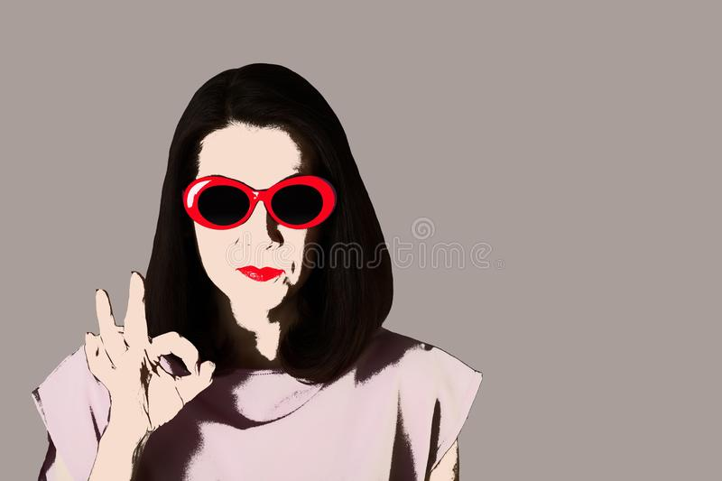 Photo in the style of pop art. Woman in dress and sunglasses shows gesture ok. Comic retro girl in pin up style stock illustration