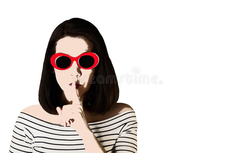 Photo in the style of pop art. Woman in red sunglasses shows gesture Shhh. Comic retro girl in pin up style stock photos