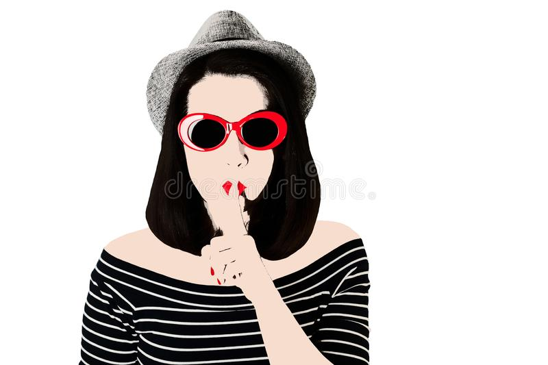 Photo in the style of pop art. Woman in red sunglasses shows gesture Shhh. Comic retro girl in pin up style stock illustration