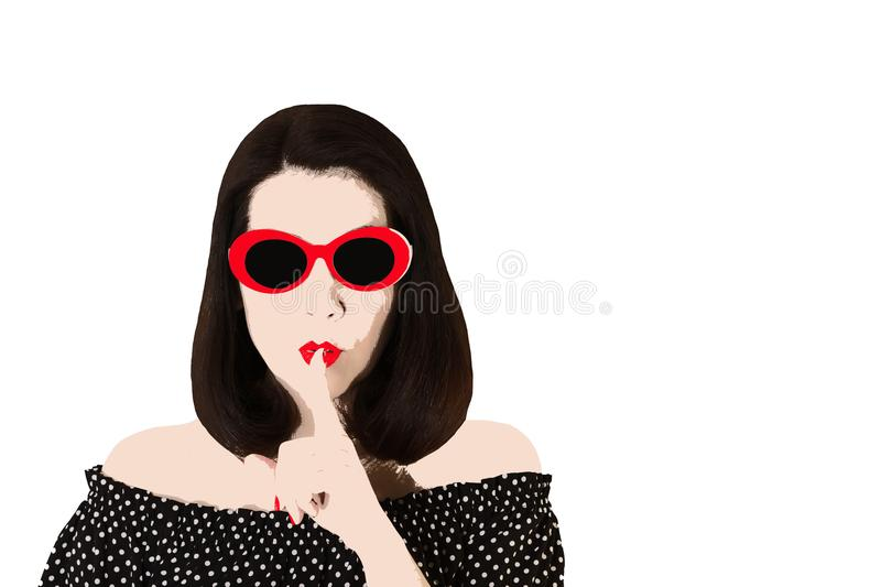 Photo in the style of pop art. Woman in red sunglasses shows gesture Shhh. Comic retro girl in pin up style royalty free illustration