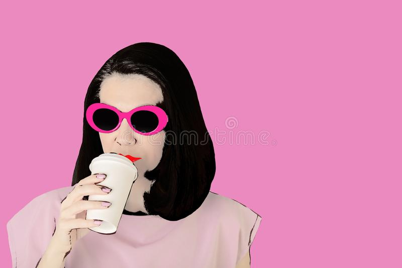 Photo in the style of pop art. Woman in sunglasses drinks coffee. Comic retro girl in pin up style vector illustration