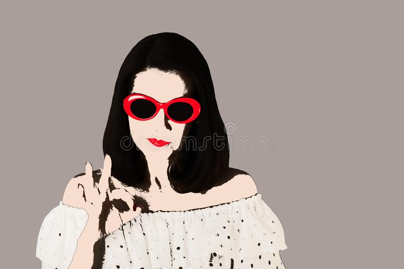 Photo in the style of pop art. Woman in white dress and sunglasses shows gesture ok. Comic retro girl in pin up style stock illustration