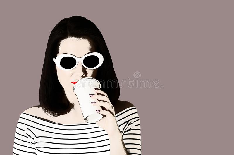 Photo in the style of pop art. Woman in a white striped top and. White sunglasses drinks coffee. Comic retro girl in pin up style royalty free illustration