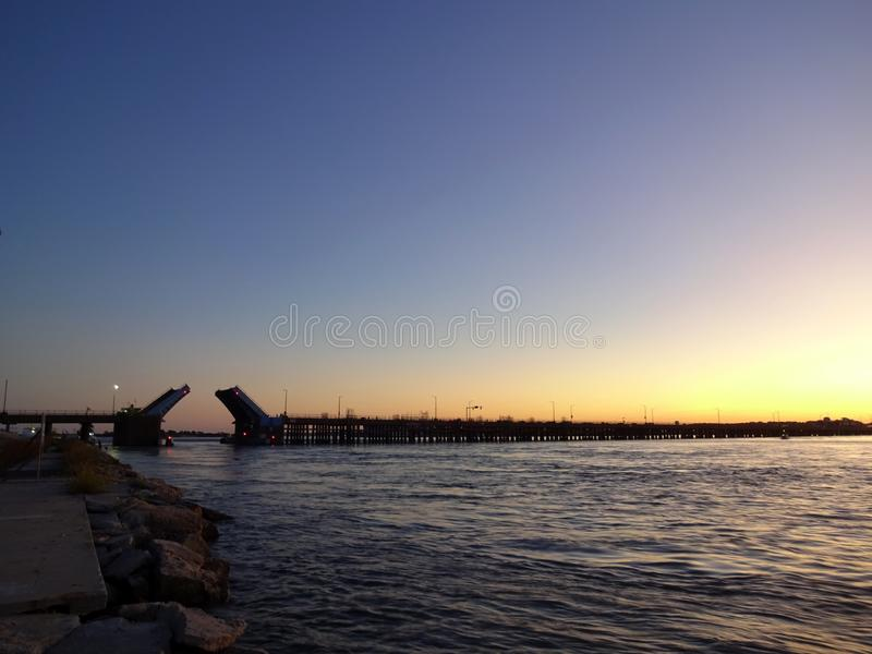Route Fifty Bridge Opening on the Bay in Ocean City Maryland stock images