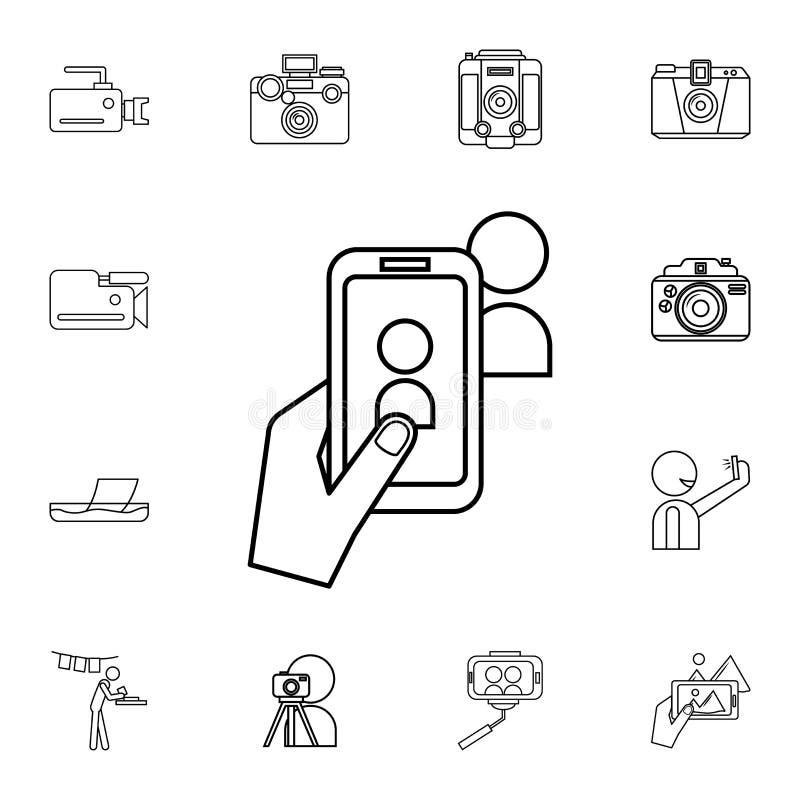 photo sur l'icône de téléphone Ensemble détaillé d'icônes d'appareil-photo de photo Icône de la meilleure qualité de conception g illustration stock