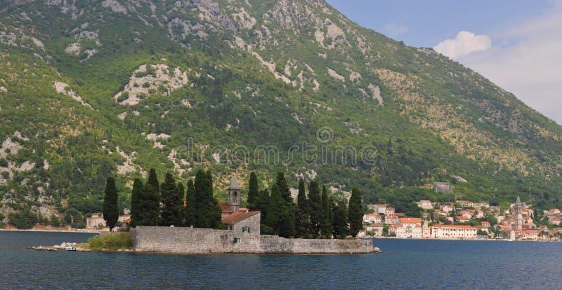 Sveti Dorde from the sea stock image