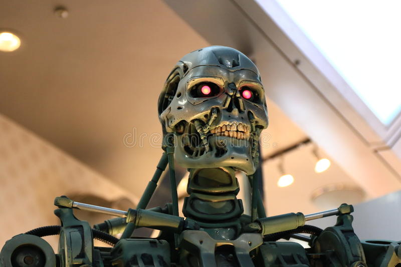 Photo of the T-800,TERMINATOR. Feb 06, 2016 : Photo of the T-800 Endoskeleton from the Terminator 3D,one of the most famous attraction at Universal Studios JAPAN royalty free stock photo