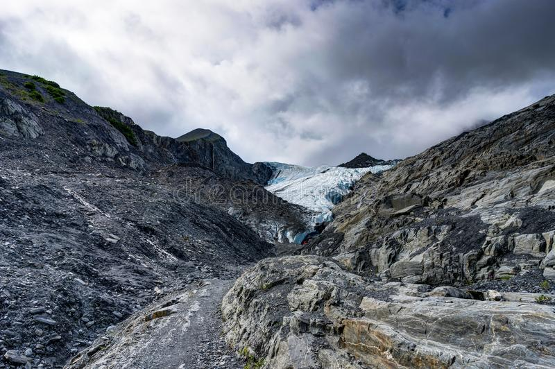 Closer view towards Worthington Glacier in Alaska United States. Photo taken in Alaska, United States of America royalty free stock photos