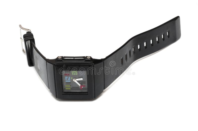 An all black analog wristwatch designed for both kids and adults royalty free stock image