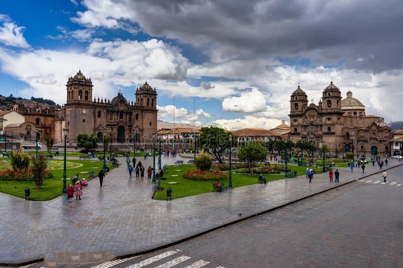 Street Scene plaza in Cusco Peru stock photo