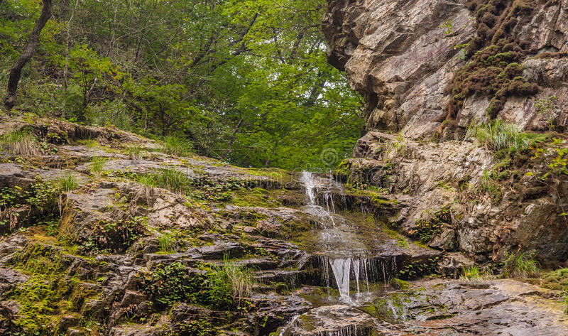 Photo taken from below of a natural waterfall. Running over a rocky ridge with trees in the background stock images