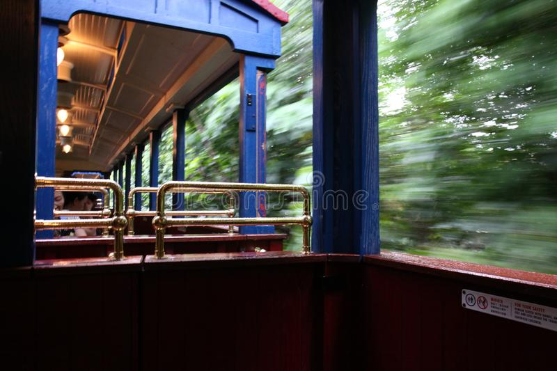 Moving Train in Hong Kong Disneyland stock image