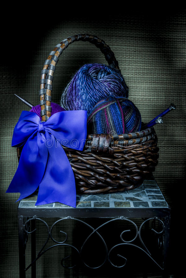 Basket of Yarn, Light Painting royalty free stock images