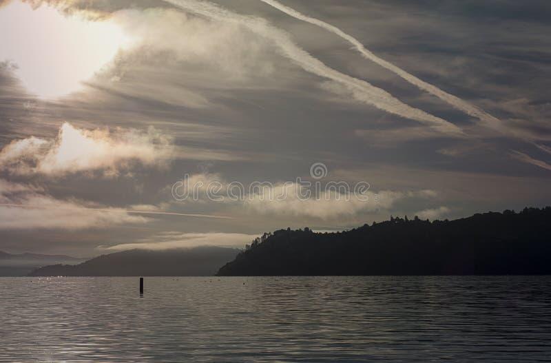 Sunrise on clear lake, california. Photo taken at dawn from a dock, at Clear Lake California, USA royalty free stock photo