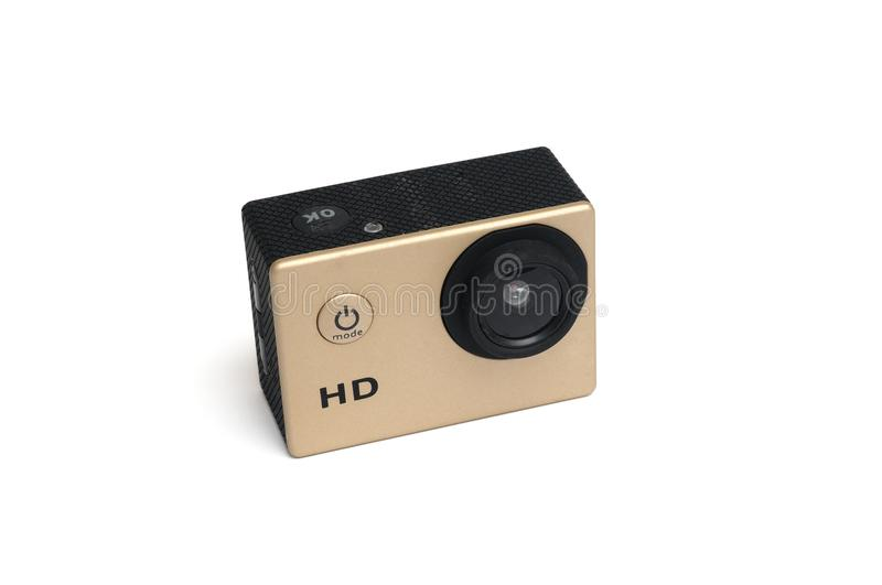 A gold colored small high definition HD action camera stock photo