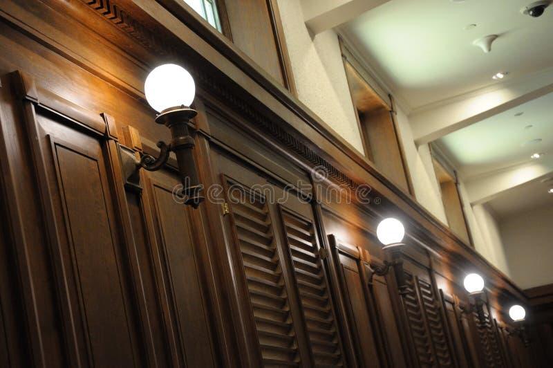 Interior lighting bulbs for a hallway. A photo taken on the interior lighting bulbs and systems for a hallway stock image