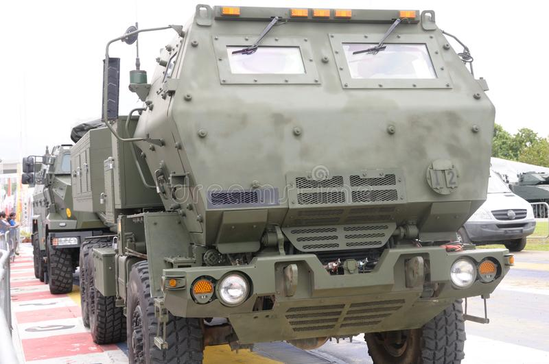A mobile artillery rocket system vehicle royalty free stock photography