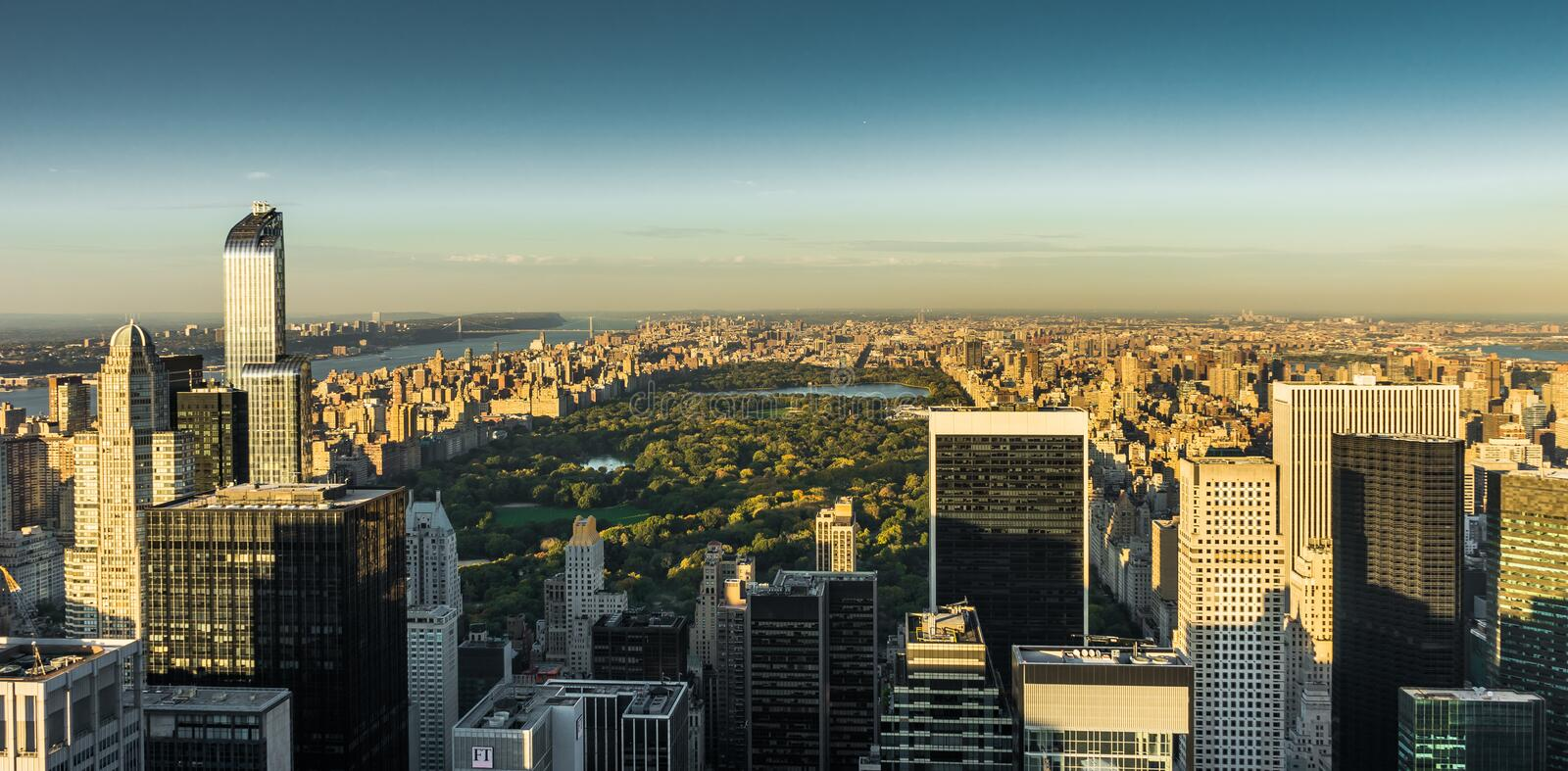 New York Skyline Manhatten Cityscape Central Park from Top of th stock photos