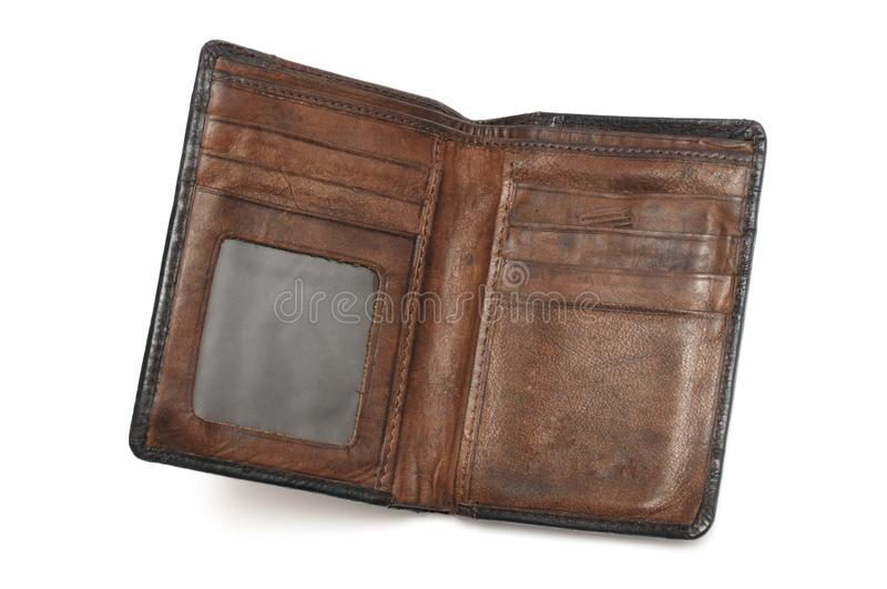 A pre-owned well used brown leather wallet. A photo taken on a pre-owned well used brown leather wallet against a white backdrop stock photography
