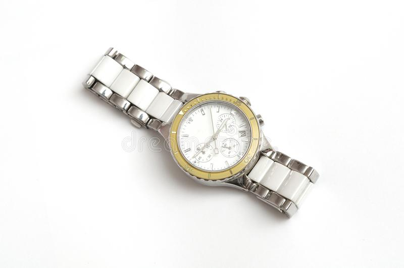 A silver all metal wristwatch for men stock photography