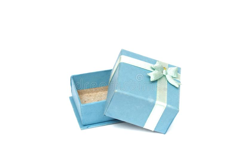 A small light blue colored ring gift box stock photos