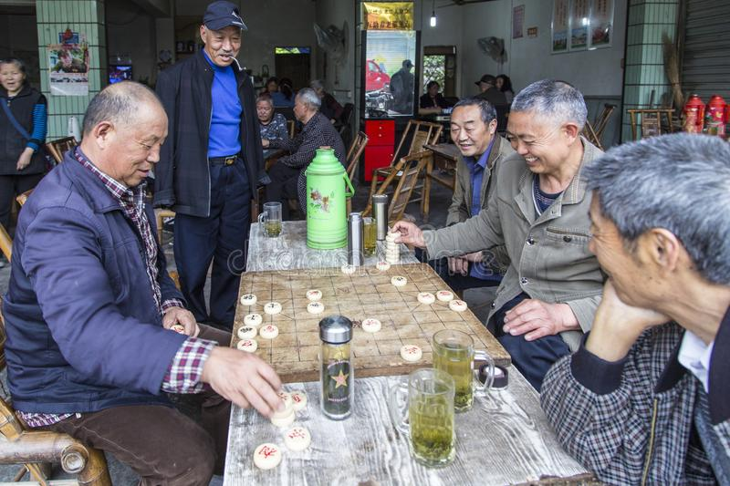 Playing chess game in the teahouse,  sichuan,china stock photo